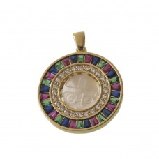 Saint Benedict Cross Rhodium Medal With Pearl