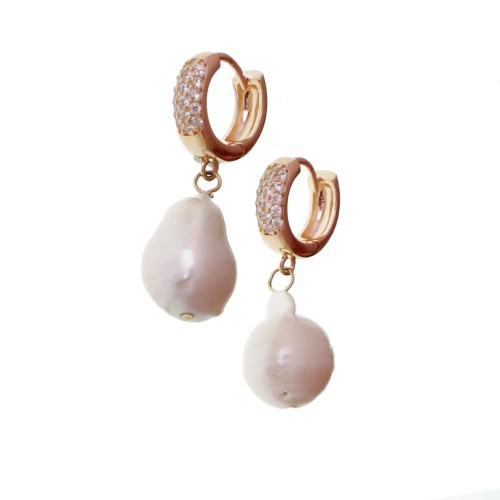 Rhodium Earrings With Pearl