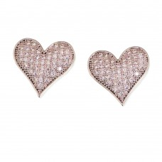 Heart Rhodium Earrings With Zirconia