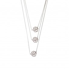 Rhodium Triple Necklace With Flower Charm