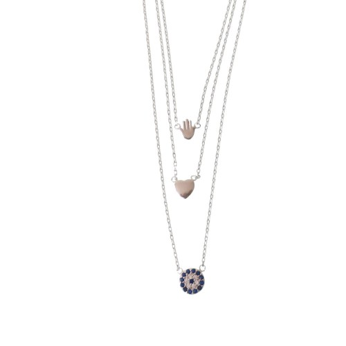 Triple Necklace With Hamsa, Evil Eye and Heart