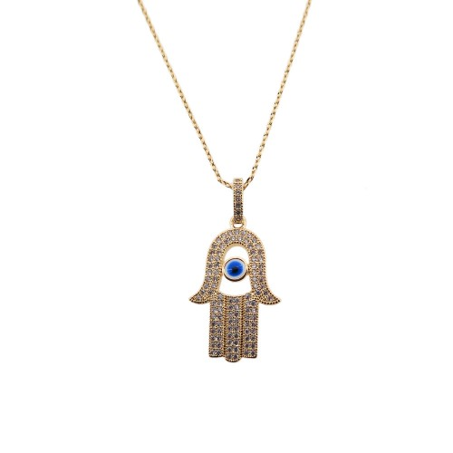 Brass Necklace With Hamsa (Hand) Charm And Eye
