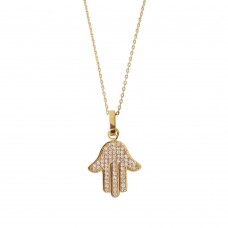 Brass Necklace With Hamsa (Hand Of Fatima) Charm