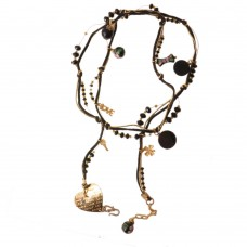 Long Brass Necklace With Trendy Charms