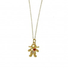 Brass Necklace With Girl Charm