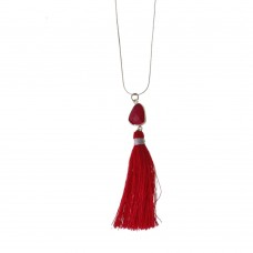 Brass Necklace With Stone Charm and Tassel