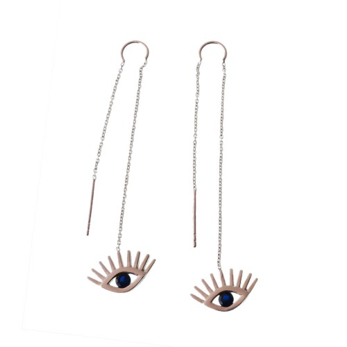 Silver and Natural Stone Earrings With Evil Eye