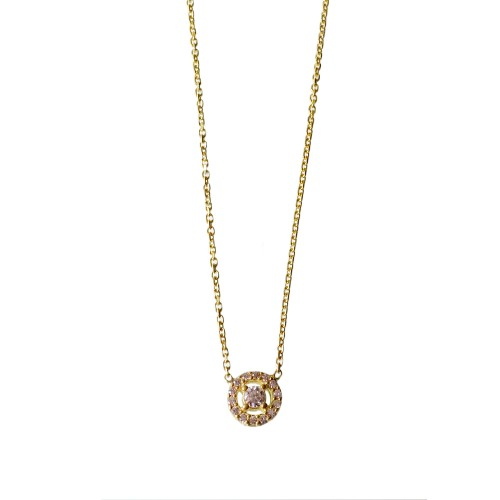 Silver Necklace With Square Zirconia Charm