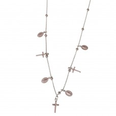 Silver Necklace With Catholic Charms