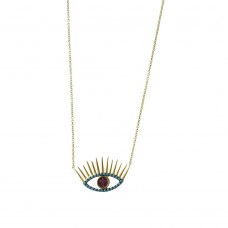 Evil Eye Necklace in Silver and Turquoise