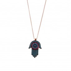Evil Eye and Hamsa Silver Necklace with Turquoise and Zirconia