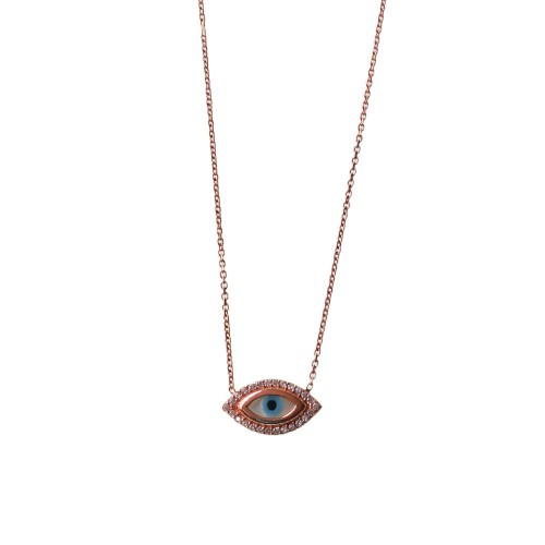 Evil Eye Necklace in Silver with Mother Pearl and Cubic Zirconia