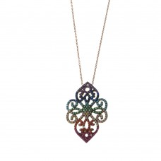 Silver Necklace With Multicolor Curly With Zirconia