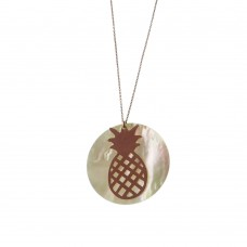 Silver Necklace With Pineapple Charm With Pearl
