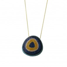 Evil Eye Necklace in Silver with Turquoise and Zirconia