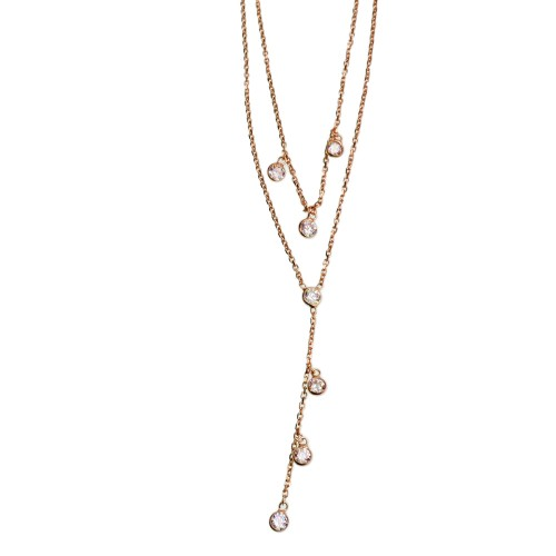 Double Silver Long Necklace Wtih Zirconia