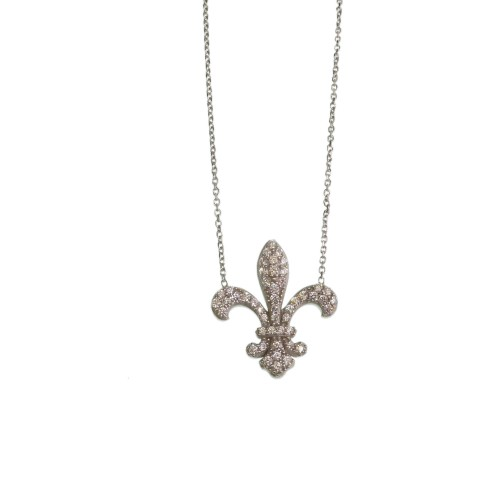 Silver Necklace With Fleur de Lis Charm