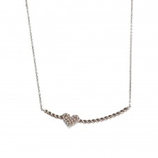 Braided Silver Necklace With Heart
