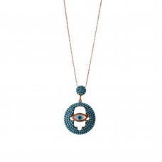 Silver Evil Eye Necklace in Mother Pearl with Turquoise with Hamsa Shape