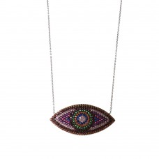 Silver Evil Eye Necklace with Multicolor Cubic Zirconia