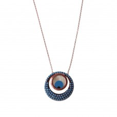Silver Evil Eye Necklace in Mother Pearl with Turquoise