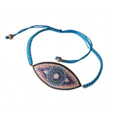 Macrame Bracelet With Silver Evil Eye