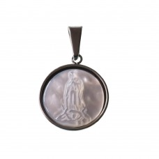 Stainless Steel Virgin Mary Medal With Pearl