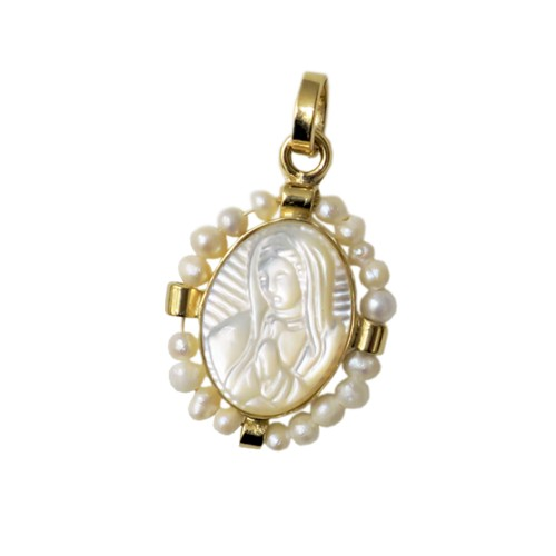 Virgin Mary Mini Medal With Pearl