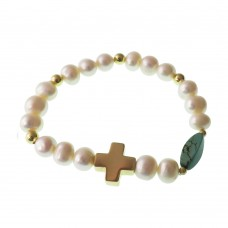 Pearl and Turquoise Bracelet With Cross Charm