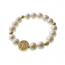 Pearl Bracelet With San Benito Medal