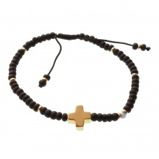 Brass Cross Beaded Bracelet with Opal Stone