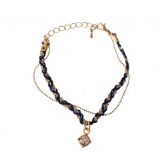 Braided Blue String Bracelet With Brass Charm