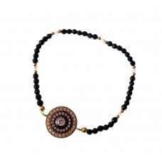 Brass Evil Eye Bracelet With Crystal Beads