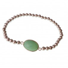 Brass Bracelet With Natural Stone Charm