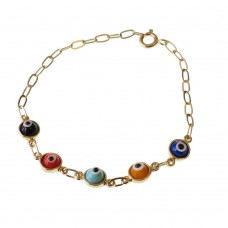 Brass Bracelet With Multicolor Evil Eyes