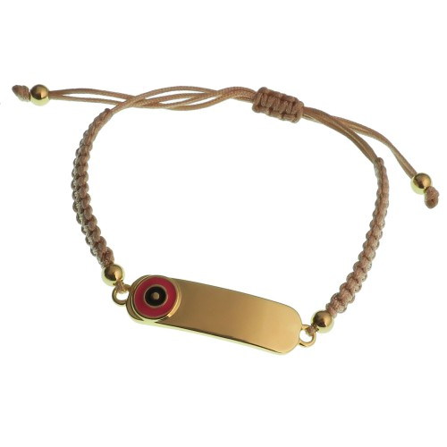 Braided Bracelet With Brass Link And Evil Eye