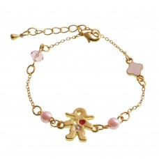 Brass and Pearl Bracelet With Girl and Star Charm