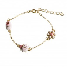 Brass Bracelet With Flower, Ladybug and Shoe Charm