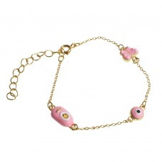 Brass Bracelet With Pink Charm