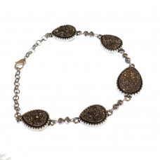Brass Bracelet With Druzy