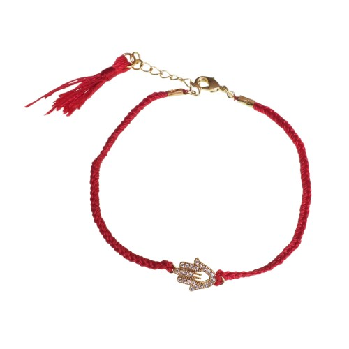Braided Bracelet With Hamsa (Hand of Fatima)