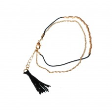 Chain Bracelet With Black Beads And Tassel