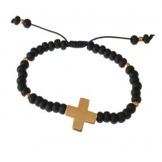 Brass Cross Beaded Bracelet