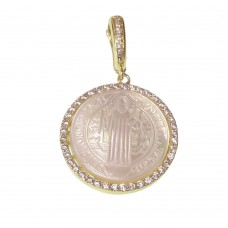 Saint Benedict Rhodium Medal With Pearl
