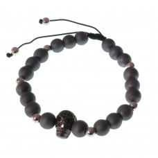 Black Skull Bracelet with Swarovski Pearl Beads