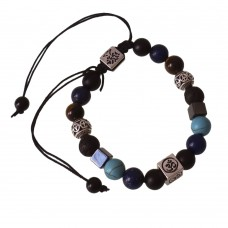 Crystal Bracelet With Lava Stone